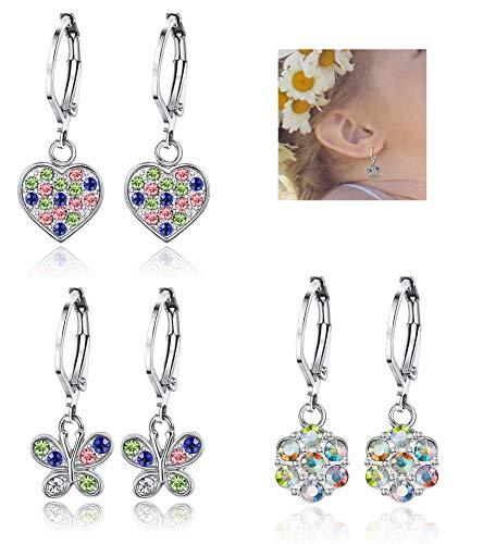 JOERICA 3 Pairs Heart Leverback Earrings for Women Girls Flower Screwback Stud Dangle Childrens Earrings Stainless Steel Set for Kids (Leverback Heart Earrings Childrens)