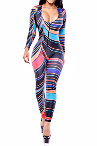 [HOTAPEI Women Trendy Turtleneck Peruvian Tile Bodycon Jumpsuit Medium] (Spandex Suits)