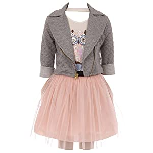Big Girl 3 Pieces Set Jacket Neckband Top Mesh Casual Girl Dress Gray 12 JKS 2109