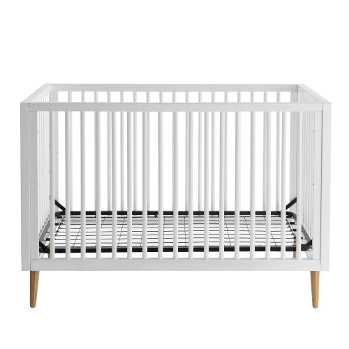 Roscoe 3-in-1 Convertible Crib Mid Century Modern Design, Built-in-Hardware for Easy Assembly, 3 Mattress Height Positions, JPMA Certified (White) - Maple Baby Crib