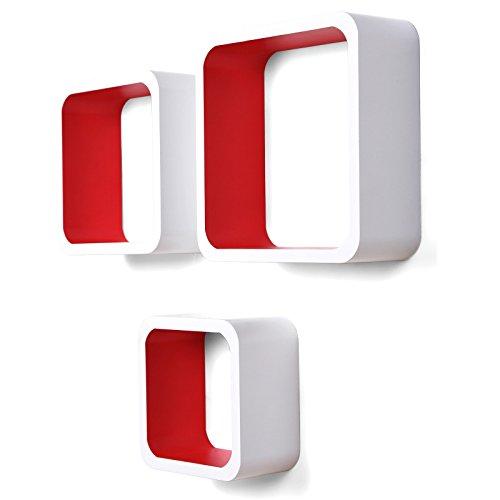 Songmics 3er Set Wandregal Raumteiler in modernem Design, freischwebend, hohe Belastbarkeit, weiss-rot LWS80R