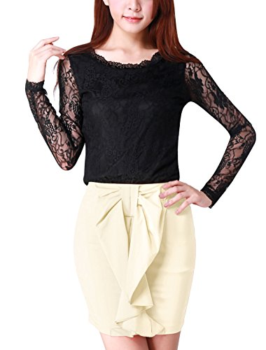 Allegra K Women Long Sleeve Scalloped Neckline Lace Fall Tops Slim Blouses