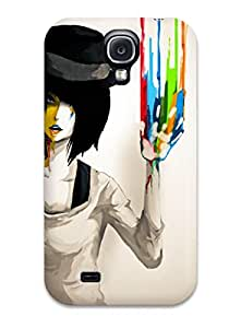 New Fashion Premium Tpu Case Cover For Galaxy S4 - Girl With Colors