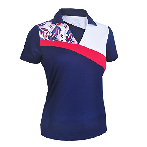 Monterey Club Ladies' Dry Swing Water Fountain Contrast Colorblock Short Sleeve Shirt #2344 (Navy/White, Medium)