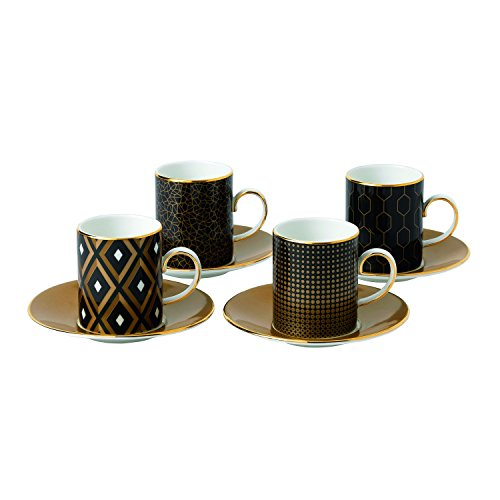 Wedgwood Arris Accent Espresso Cup and Saucer (Set of 4)
