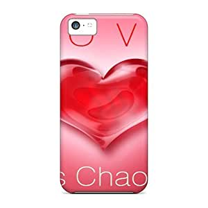 LJF phone case iphone 4/4s Love Is Chaos Print High Quality Tpu Gel Frame Case Cover