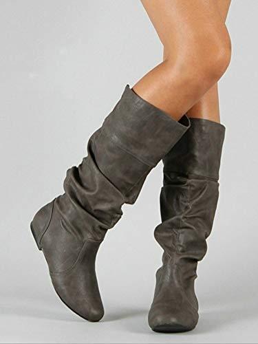 Alti Moda Gli Stivali Minetom Stivali Stivali Inverno da di Donna Boots Autunno Pieghettati Casual Grigio Pelle wXf1q