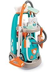 Smoby 330309 - Speelgoed Reinigingstrolley met Stofzuiger inclusief Geluid, Schep, Bezem, Wismop, Speelverpakking voor Kinderen vanaf 3 jaar, Turkoois, 31 x 32,1 x 55,2 cm