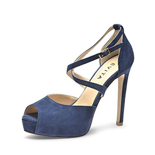 Sandalias para mujer, diseño de ciervo Azul - azul