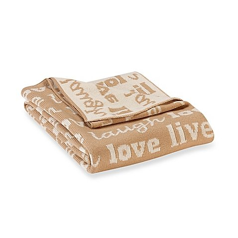 Reversible ''Live Love Laugh'' Gift Boxed Knit Cozy Throw Blanket in Camel