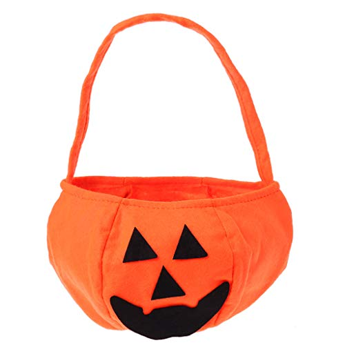 (dfsdmlp Halloween Candy Bags for Kids Boys Girls,Pumpkin Candy Hand Bags Trick or Treat Bags with Handle for Halloween Costume Party (2))
