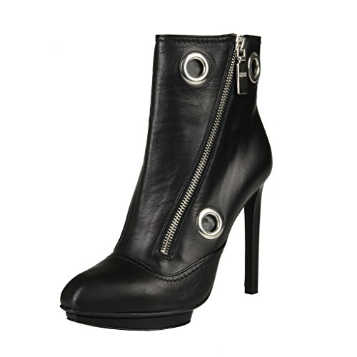 Alexander Mcqueen Black Leather High Heel Ankle Boots Shoes US 5 IT 35;