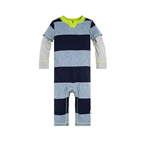 Sleeve Cotton Rugby Long - Burt's Bees Baby Baby Boys' Romper Jumpsuit, 100% Organic Cotton One-Piece Coverall, Midnight Rugby Stripe 2Fer, 12 Months