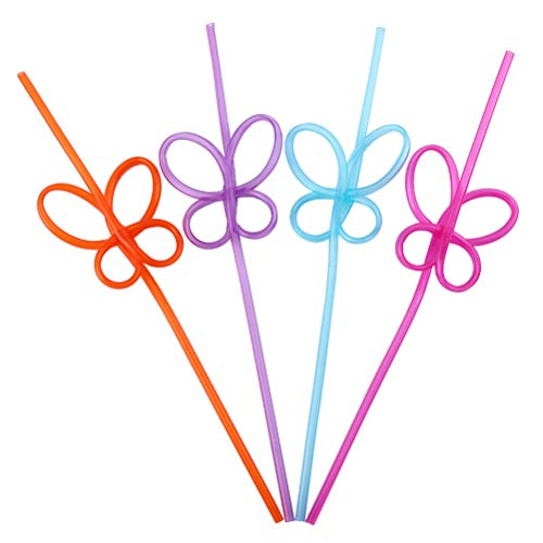 (Amosfun 50pcs Silly Crazy Loop Straws Butterfly Straws Plastic Party Drinking Straws Birthday Wedding Baby Shower Party Favors)