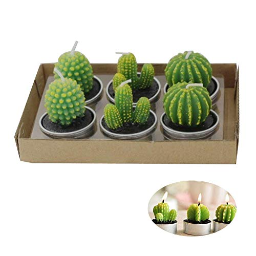 Cactus Tealight Candles, niceEshop(TM) 6pcs Creative Birthday Scented Candles Handmade Delicate Succulents Candles for Birthday/Party/Spa/Wedding/Home Decoration/Confession ()