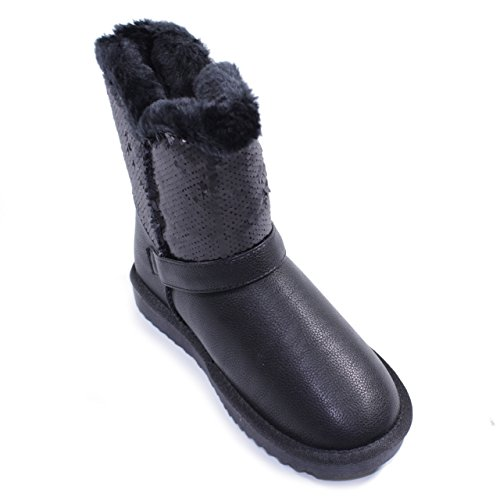 Liu Jo Girl Stiefel Gepolstert Fell Pailletten Schnalle weiblich schwarz Schwarz