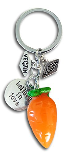 Pashal Vegan Vegetable Charm Cabbage, Dade, Romaine, Tomato, Carrot Keychain by Farralone (Believe in Love)