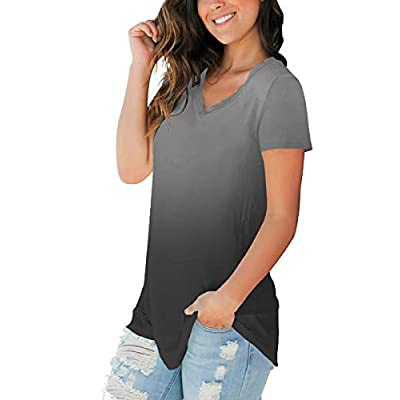 SAMPEEL Womens Fall Basic Long Sleeve V Neck T-Shirts Casual Tops at Women's Clothing store
