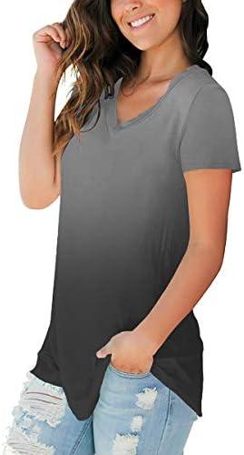 SAMPEEL Women's Basic V Neck Short Sleeve Floral T Shirts Summer Casual Tops 4