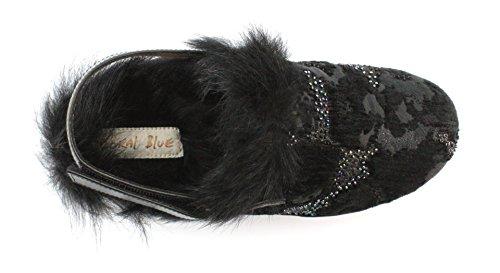 Coral Blue zoccolo Clog Ciniglia Embroidery Black