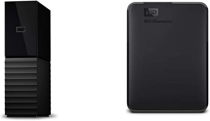 Western Digital 10TB My Book Desktop External Hard Drive, USB 3.0 - WDBBGB0100HBK-NESN Bundle with WD 4TB Elements Portable External Hard Drive - USB 3.0 - WDBU6Y0040BBK-WESN