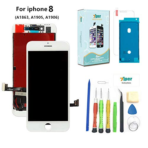Screen Replacement for iPhone 8 (4.7 inch) -3D Touch LCD Screen Digitizer Replacement Display Assembly Repair Kits with Waterproof Adhesive, Tempered Glass, Tools,Instruction (White)