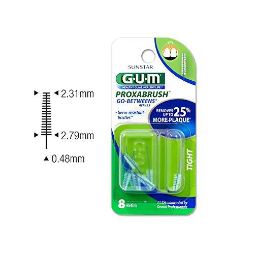 GUM Proxabrush Go-Betweens Interdental Brush Refills, Tight, 8 Count