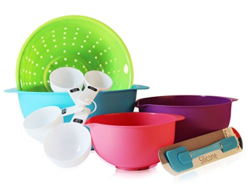 Mixing Bowls Set Colorful BPA Free Plastic Bowls, Colander, Measuring Cups & Silicone Spatula -Great Starter Set
