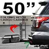 Topline Autopart 50'' Universal Blk Mesh Steel Foldable Fold Up Folding Rear Bumper Mount Trailer Hitch Luggage Cargo Carrier Rack Hauler Basket Kit For 2'' / Class 3 III Receiver Tube A2