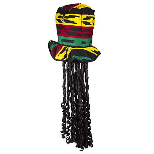 Rasta Top Hat with Dread Locks Costume Party Hat ()