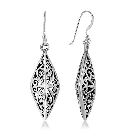 925 Sterling Silver Bali Inspired Open Filigree Puffed Marquise Dangle Hook Earrings 1.6
