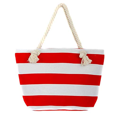 Beach Bag Red - Extra Large Beach Bag Tote Straw Bag With Waterproof Inside Lining Tote Bag with Rope Handles (Red-2) ...