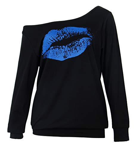 Smile fish Women's 80s Costumes Hoodies Sexy Pullover Lips Print Casual Off The Shoulder Slouchy Shirt (L,Black-Blue) CVC 0036