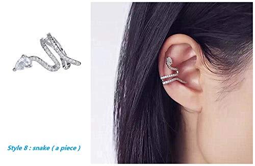 GOLD XIONG PADISHAN Fashion Personality Cubic Zirconia Cartilage Ear Cuff Chic Helix Hoop Earring no Pierce Earrings (Sliver, Snake Ear Cuff 1 pc ()
