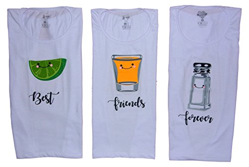 Rigolett Best Friend Forever Shirts - Lemon, Tequila and Salt, For Women, Funny Tops Tees (Sold Separately) (M, (Lemon Tequila)