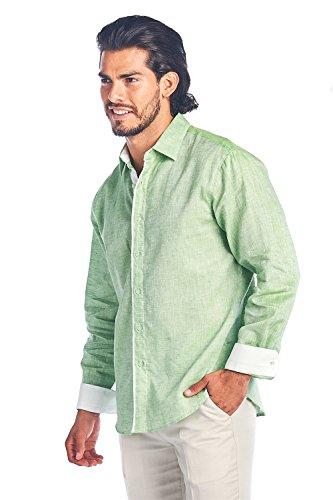 Mojito Collection - Mojito Collection Linen Cotton Blend Shirt (Mint, L)