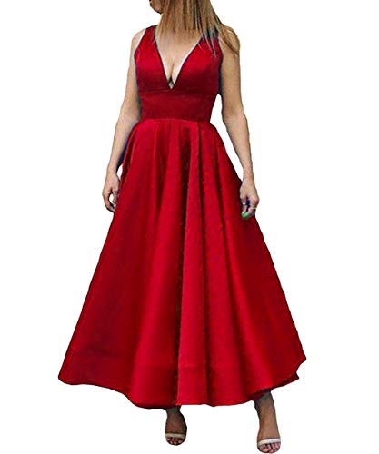 Kivary Plus Size V Neck Corset Backless Formal Prom Evening Dresses Wine  Red US 18W
