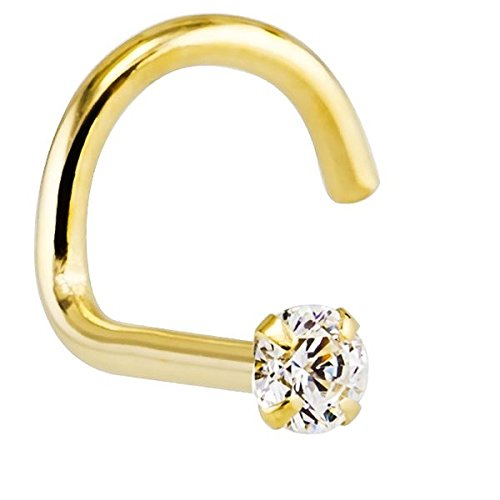 FreshTrends 20G 1.5mm 0.015 ct. tw Diamond 14K Yellow Gold Twist Screw Nose Ring (14k Diamond Nose Screw)