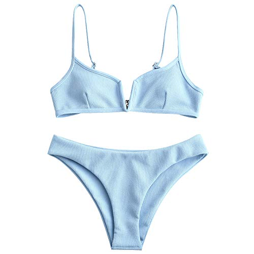 Triangle Cut Center - ZAFUL Women's V-Wire Padded Ribbed High Cut Cami Bikini Set Two Piece Swimsuit (Light Sky Blue, XL)