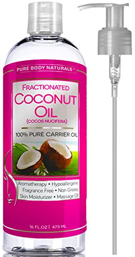 Premium Fractionated Coconut Oil 16 oz 100% Natural & Pure - Finest Coconut Oil Carrier Oil Massage Oil by Pure Body - Extract Perfume Black