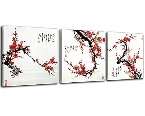 NAN Wind Small Size Traditional Chinese Cherry Blossom red Wall Art Plum Blossom Canvas Prints 3 Panels Wood Framed Red Plum Blossom Wall Art Plum Flowers Print Painting 30x30cm Each Panel
