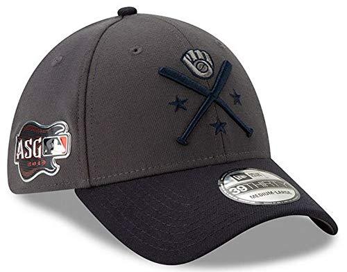 New Era 2019 MLB Milwaukee Brewers Hat Cap All Star Game Workout 39Thirty (M/L) Graphite/Navy