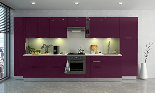 Berlenus CP8HA Mobile da cucina alto, 2 sportelli, 80 cm, colore: Melanzana