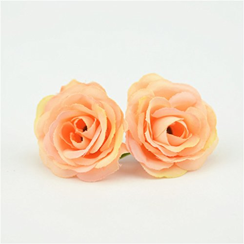 Rose Block Garden China (OMSTION 10Pcs 3Cm Mini Rose Cloth Artificial Flower For Wedding Party Home Room Decoration Silk Flower Orange)