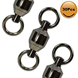 Croch 30Pcs Ball Bearing Swivels #1,100% Copper Stainless Steel Solid Welded Rings Fishing Tackle Swivels Connectors Saltwater Fishing Black Nickel