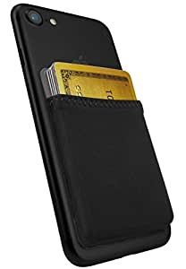 Silk Stick-on Phone Wallet - Sidecar Slim Expandable Credit Card Pocket - Fits iPhone and Android (Midnight Black)