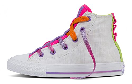Converse Mädchen Girl Sneaker Chuck Taylor All Star Hi Top weiß white Gr. 35 (US3) *** Loopholes Jersey White/Bold/Lime *** 654239C