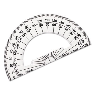 CHARLES LEONARD, INC Open Center Protractor, Plastic, 4'' Base, Clear (5 Dozens) by Charles Leonard
