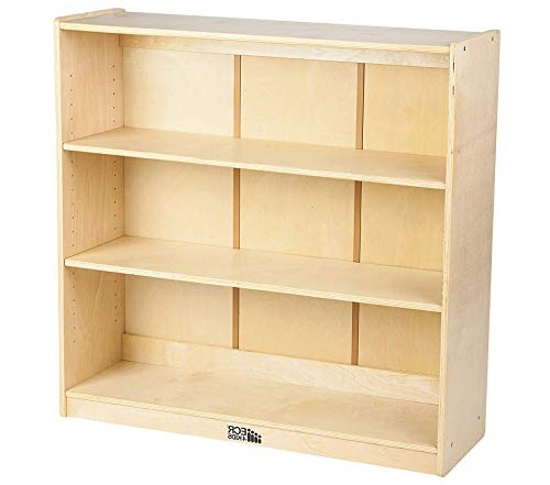 - Office Home Furniture Premium Birch Bookcase with Adjustable Shelves, Wood Book Shelf Organizer for Kids, 3 Shelf, Natural, 36 H