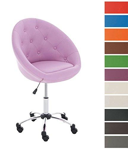 CLP Design-Bürostuhl LONDON, außergewöhnliches Design & hoher Sitzkomfort, Sitzhöhe 51 - 63 cm, 5 cm dicke Polsterung pink